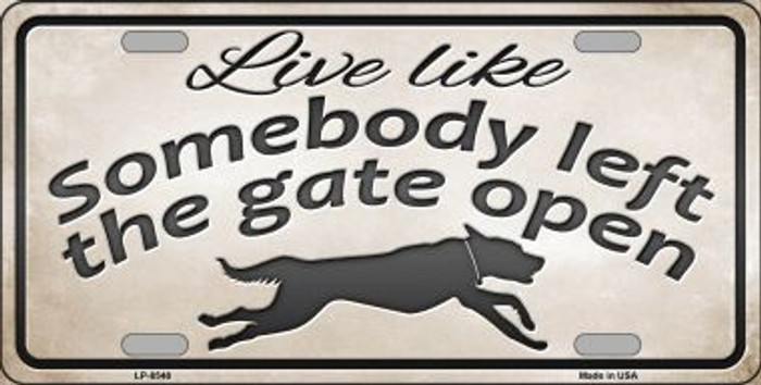 Gate Open Novelty Metal License Plate