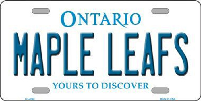 Maple Leafs Ontario Canada Province Background Metal Novelty License Plate LP-2068