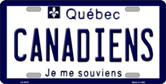 Canadiens Quebec Canada Province Background Metal Novelty License Plate LP-2070