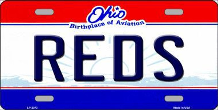 Reds Ohio State Background Novelty Metal License Plate