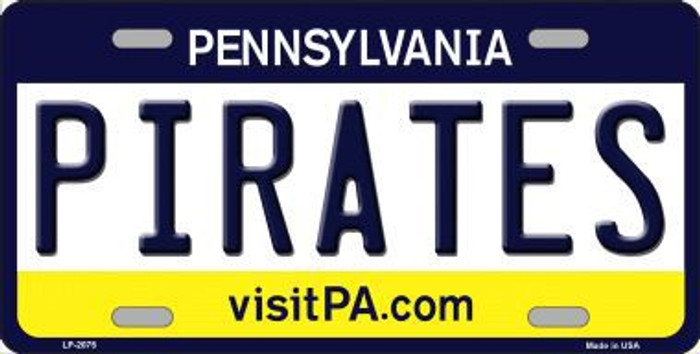 Pirates Pennsylvania Novelty State Background Metal License Plate LP-2075