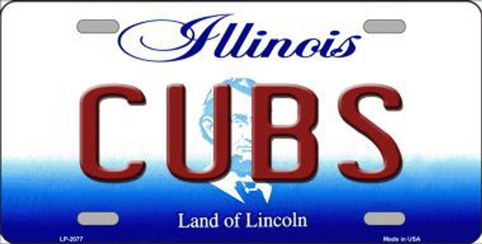Cubs Chicago Illinois Novelty State Background Metal License Plate LP-2077