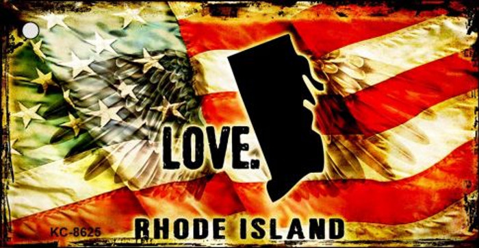 Rhode Island Love Novelty Metal Key Chain