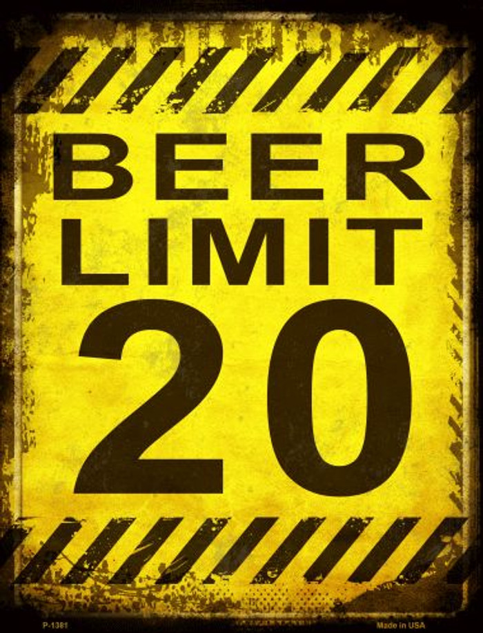 Beer Limit Metal Novelty Parking Sign