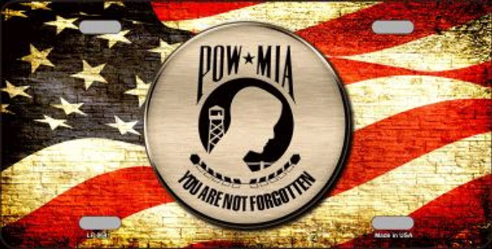 POW MIA With USA Flag Novelty Metal License Plate