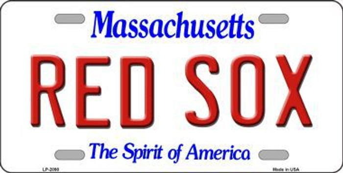 Red Sox Massachusetts State Background Novelty Metal License Plate