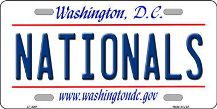 Nationals Washington DC State Background Metal Novelty License Plate