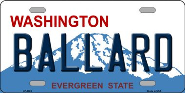 Ballard Washington Background Novelty Metal License Plate