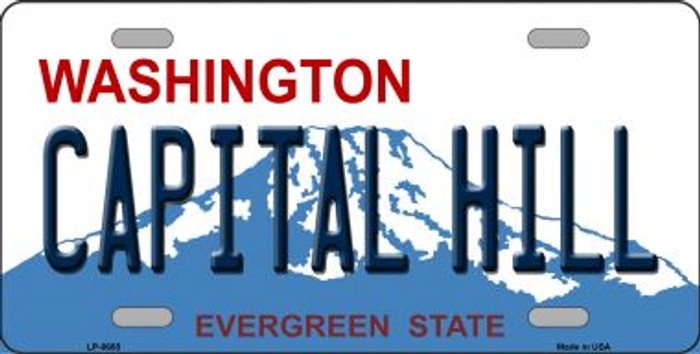 Capital Hill Washington Background Novelty Metal License Plate