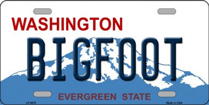 Bigfoot Washington Background Novelty Metal License Plate