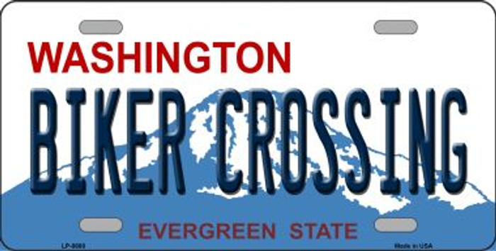 Biker Crossing Washington Background Novelty Metal License Plate
