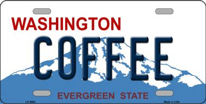 Coffee Washington Background Novelty Metal License Plate