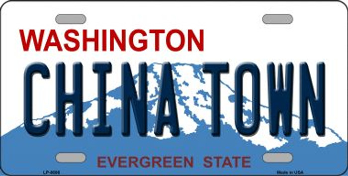 China Town Washington Background Novelty Metal License Plate