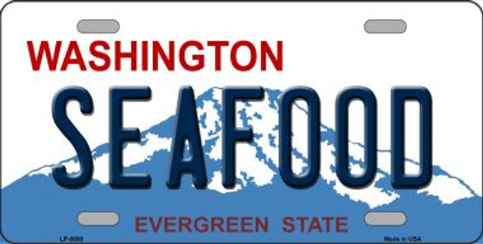 Seafood Washington Background Novelty Metal License Plate