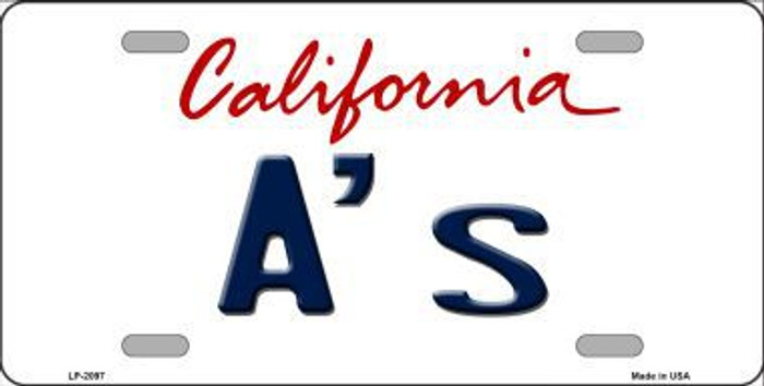 A's California State Background Novelty Metal License Plate