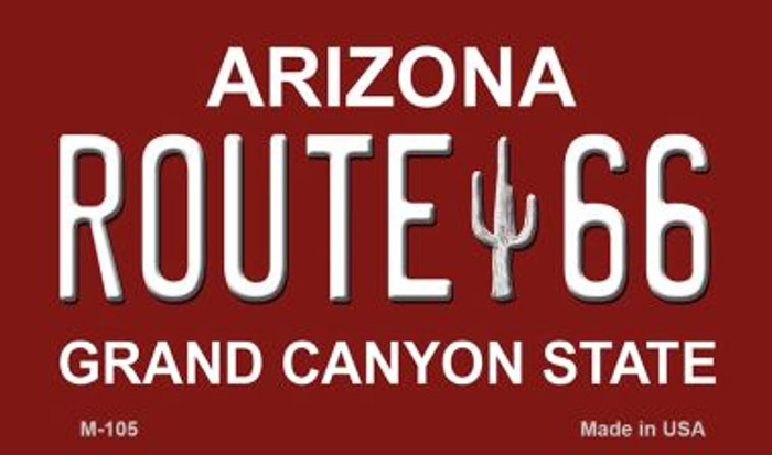 Route 66 Grand Canyon Red And White Novelty Metal Magnet