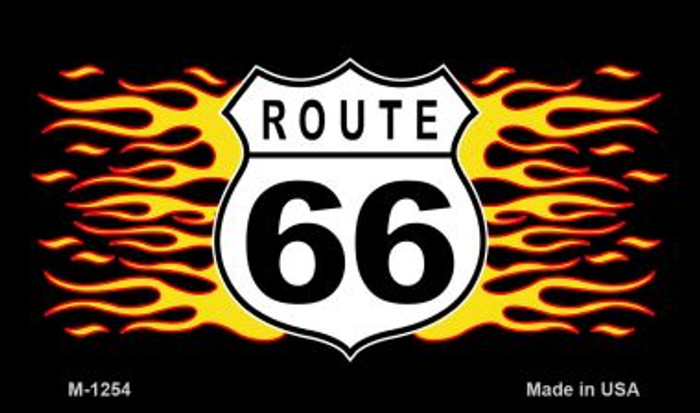 Route 66 Flame Novelty Metal Magnet