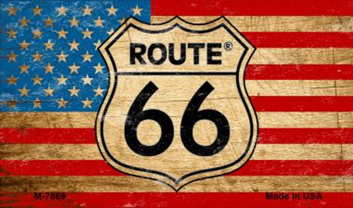 Route 66 American Flag On Wood Novelty Metal Magnet