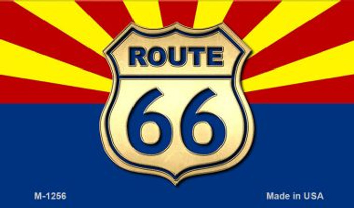 Route 66 With Arizona Flag Novelty Metal Magnet