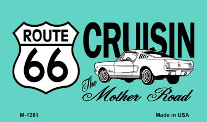 Route 66 Cruisin Mustang Novelty Metal Magnet