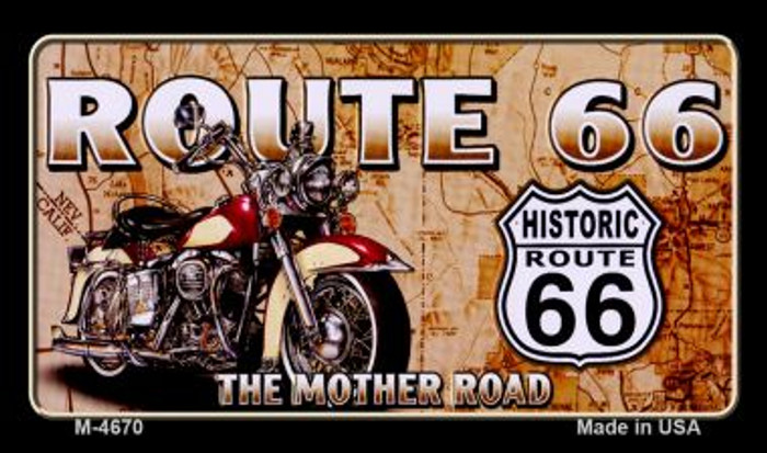 Route 66 Mother Road Motorcycle Novelty Metal Magnet