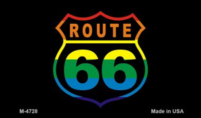 Route 66 On Rainbow Novelty Metal Magnet
