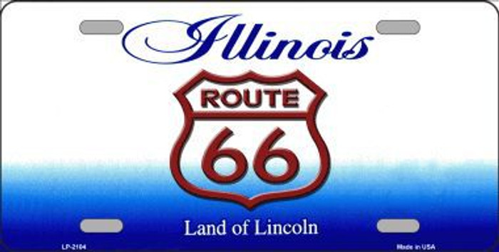 Route 66 Illinois Metal Novelty License Plate