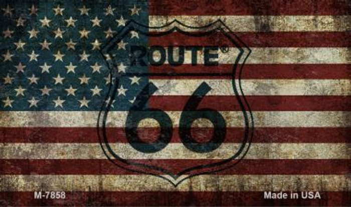 Route 66 Vintage American Flag Novelty Metal Magnet