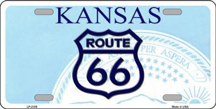 Route 66 Kansas Novelty Metal License Plate