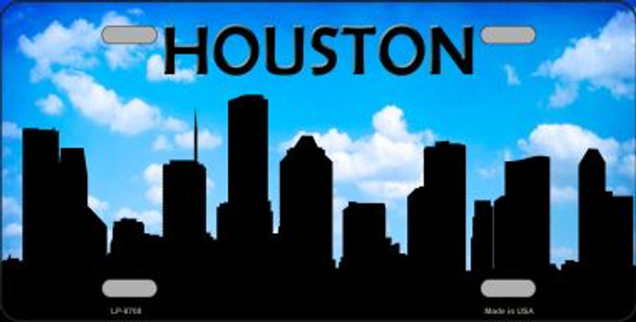 Houston Silhouette Novelty Metal License Plate