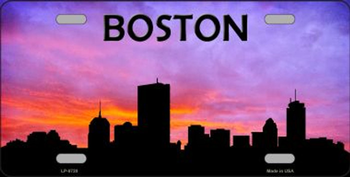 Boston Silhouette Novelty Metal License Plate