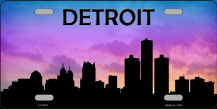 Detroit Silhouette Novelty Metal License Plate