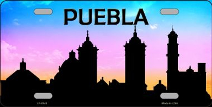 Puebla Silhouette Novelty Metal License Plate
