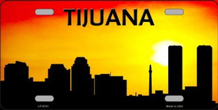 Tijuana Silhouette Novelty Metal License Plate