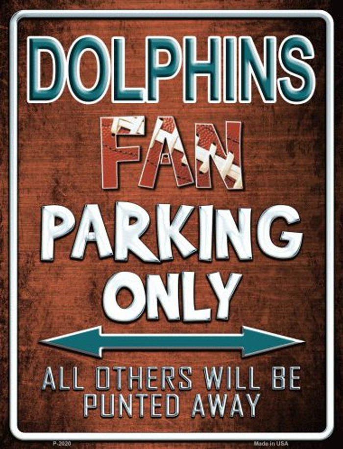 Dolphins Metal Novelty Parking Sign