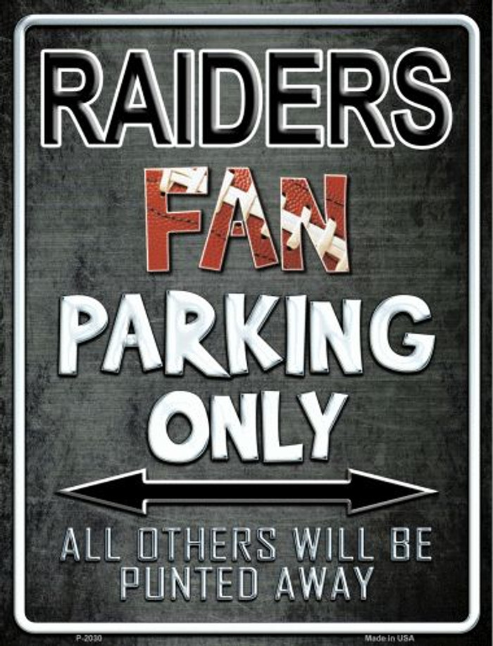 Raiders Metal Novelty Parking Sign