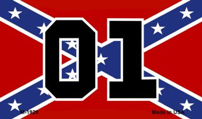 01 On Confederate Flag Novelty Metal Magnet