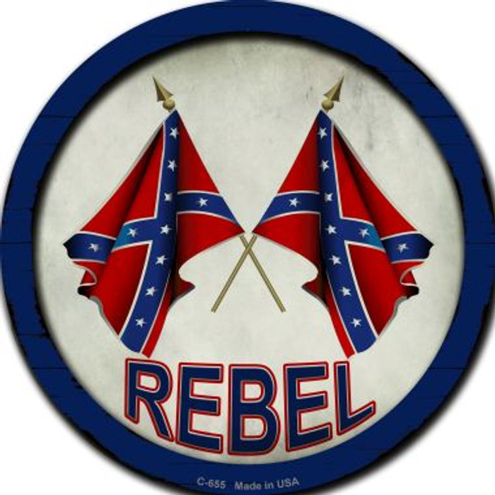 Rebel Novelty Metal Circular Sign