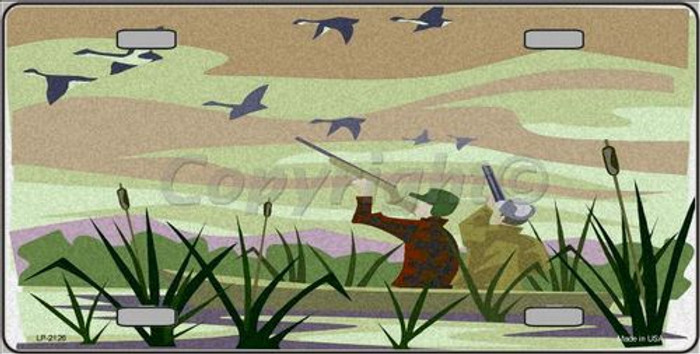Duck Hunting Camouflage Metal Novelty License Plate