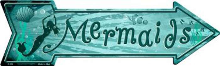 Mermaids Novelty Metal Arrow Sign