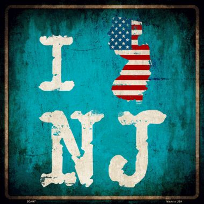 I Love New Jersey Novelty Metal Square Sign