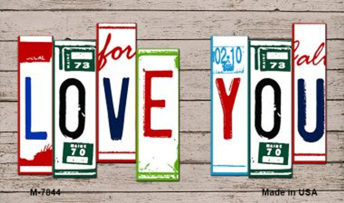 Love You Wood License Plate Art Novelty Metal Magnet