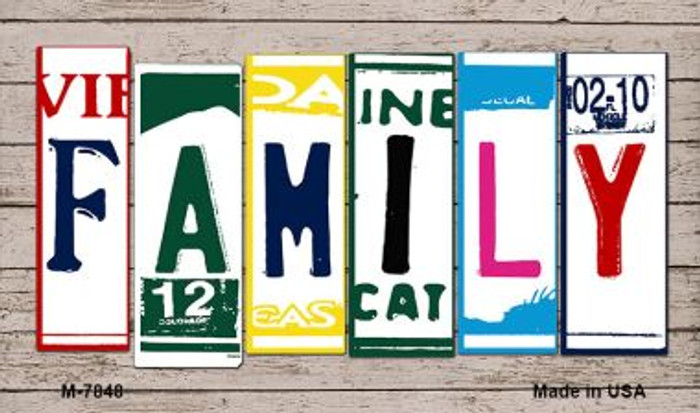 Family Wood License Plate Art Novelty Metal Magnet
