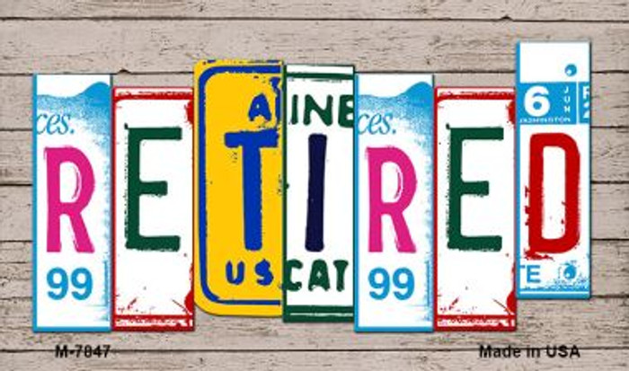 Retired Wood License Plate Art Novelty Metal Magnet