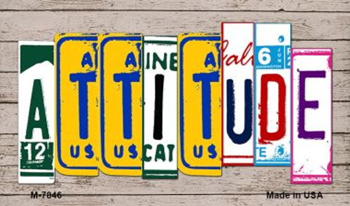 Attitude Wood License Plate Art Novelty Metal Magnet