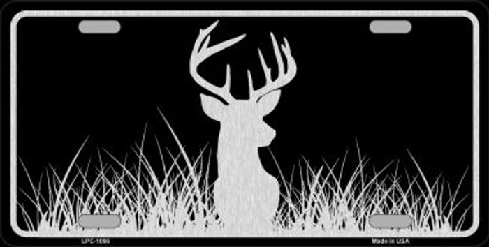 Deer Black Brushed Chrome Novelty Metal License Plate