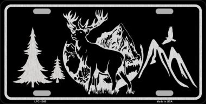 Elk Black Brushed Chrome Novelty Metal License Plate