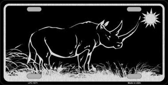 Rhino Black Brushed Chrome Novelty Metal License Plate