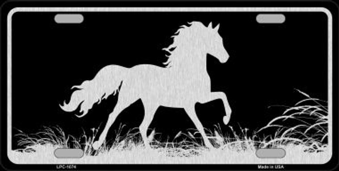 Horse Black Brushed Chrome Novelty Metal License Plate