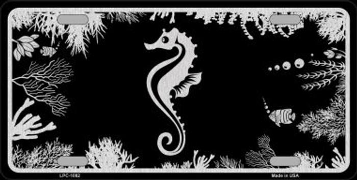 Sea Horse Black Brushed Chrome Novelty Metal License Plate